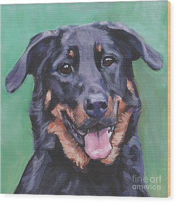 Wood Print featuring the painting Beauceron Portrait by Lee Ann Shepard