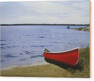 Beaultiful Red Canoe Wood Print