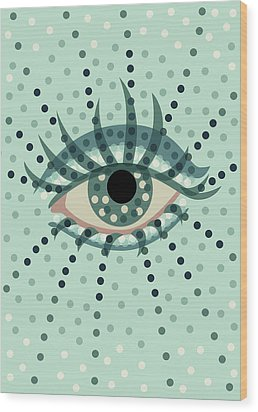 Beautiful Abstract Dotted Blue Eye Wood Print
