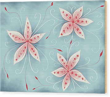Beautiful Abstract White Red Flowers Wood Print