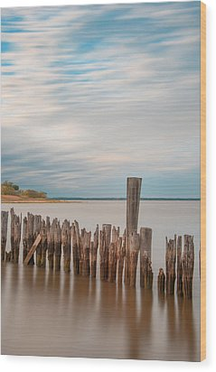 Wood Print featuring the photograph Beautiful Aging Pilings In Keyport by Gary Slawsky