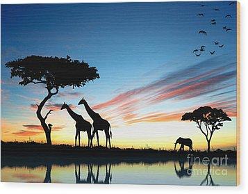 Beautiful  Animals In Safari Wood Print by Boon Mee