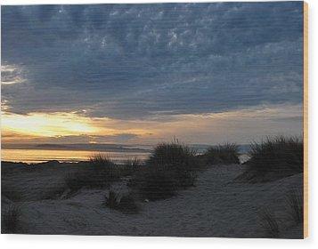 Beautiful Beach San Dunes Sunset And Clouds Wood Print