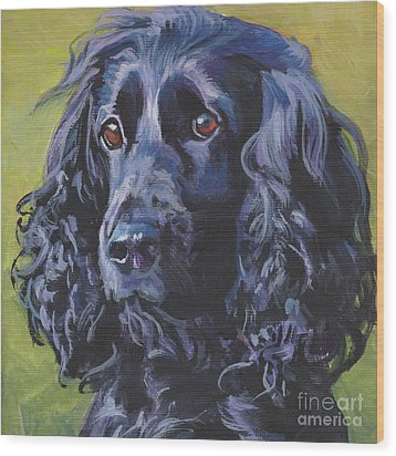 Wood Print featuring the painting Beautiful Black English Cocker Spaniel by Lee Ann Shepard