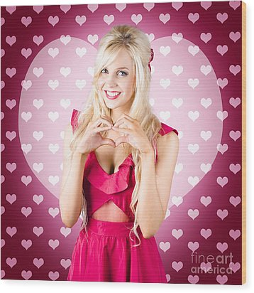 Beautiful Blonde Woman Gesturing Heart Shape Wood Print by Jorgo Photography - Wall Art Gallery