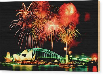 Beautiful Colorful Holiday Fireworks 2 Wood Print by Lanjee Chee