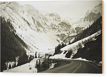 Beautiful Curving Drive Through The Mountains Wood Print by Marilyn Hunt