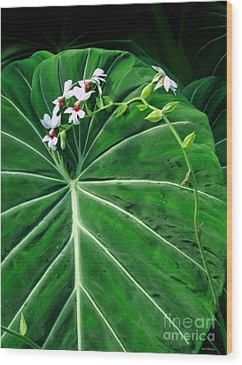 Beautiful Ivory Veins Of A Philodendron Wood Print by Sue Melvin