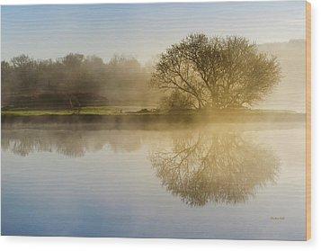 Beautiful Misty River Sunrise Wood Print by Christina Rollo