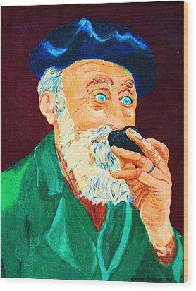 Beautiful Old Blue Eyes Wood Print by Carole Spandau