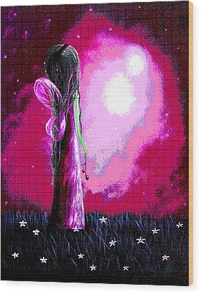 Beautiful Pink Angel Fairy By Shawna Erback Wood Print by Shawna Erback