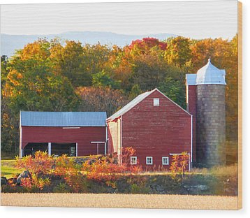Wood Print featuring the painting Beautiful Red Barn 2 by Lanjee Chee