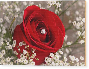 Beautiful Red Rose With Diamond Wood Print by Tracie Kaska