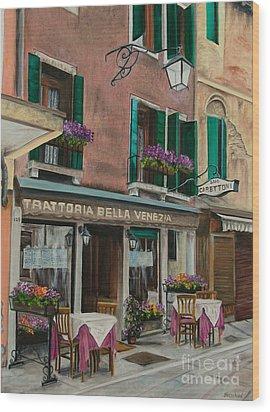 Beautiful Restaurant In Venice Wood Print by Charlotte Blanchard