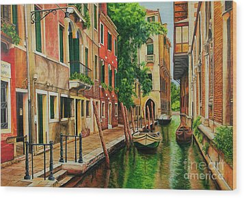 Beautiful Side Canal In Venice Wood Print by Charlotte Blanchard