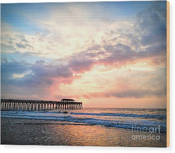 Beautiful Sunrise In Myrtle Beach South Carolina Usa Wood Print by Vizual Studio