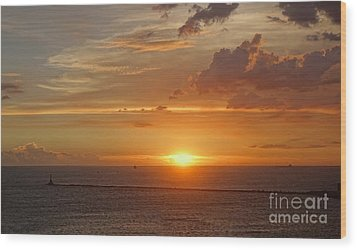 Wood Print featuring the photograph Beautiful Sunset At Kaohsiung Harbor by Yali Shi