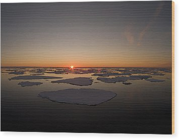 Beautiful Sunset Over An Arctic Ice Wood Print by Norbert Rosing