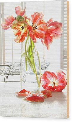 Beautiful Tulips In Old Milk Bottle  Wood Print by Sandra Cunningham