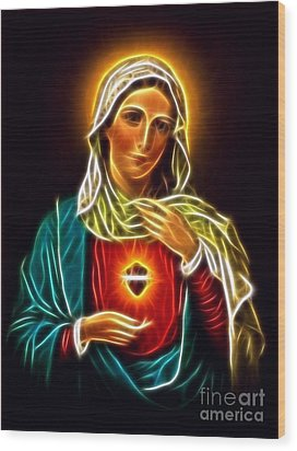Beautiful Virgin Mary Sacred Heart Wood Print by Pamela Johnson