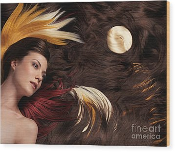 Beautiful Woman With Colorful Hair Extensions Wood Print by Oleksiy Maksymenko