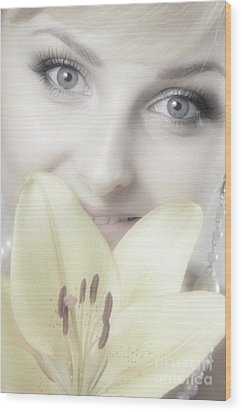 Beautiful Young Woman With A Yellow Lily Wood Print by Oleksiy Maksymenko