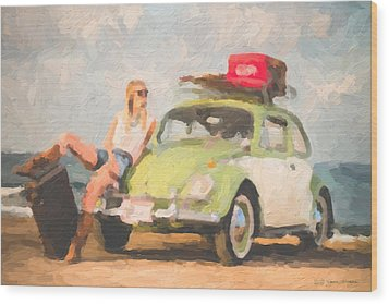 Wood Print featuring the digital art Beauty And The Beetle - Road Trip No.1 by Serge Averbukh