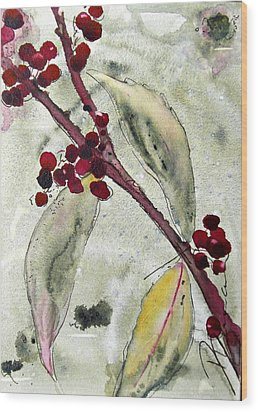 Beauty Berry Branch Wood Print