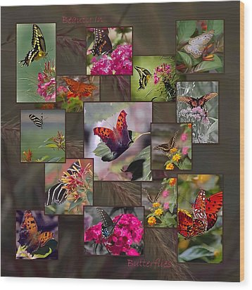 Beauty In Butterflies Wood Print by DigiArt Diaries by Vicky B Fuller