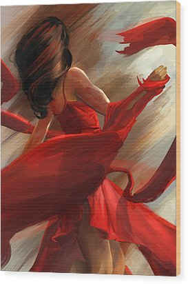 Wood Print featuring the digital art Beauty In Motion by Steve Goad