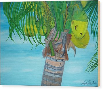 Wood Print featuring the painting Beauty Of A Coconut Palm Tree by Nicole Jean-louis