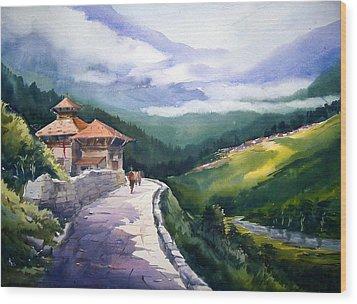 Wood Print featuring the painting Beauty Of Himalaya by Samiran Sarkar