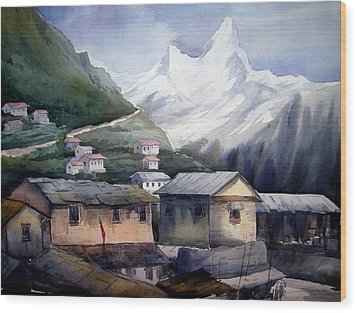 Wood Print featuring the painting Beauty Of Himalayan Village by Samiran Sarkar