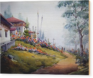 Wood Print featuring the painting Beauty Of Nature by Samiran Sarkar