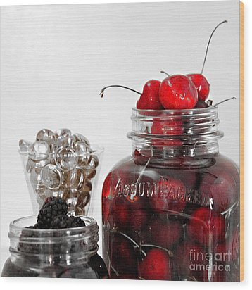 Beauty Of Red Cherries Wood Print