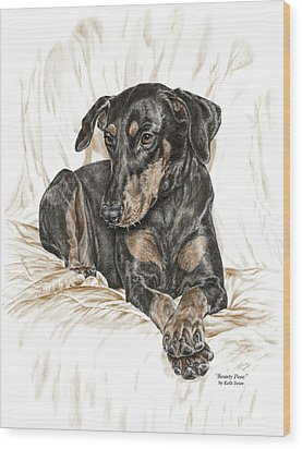 Beauty Pose - Doberman Pinscher Dog With Natural Ears Wood Print