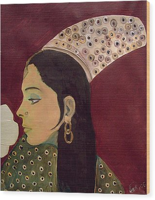 Wood Print featuring the mixed media Beauty Queen Of The Mughals by Saad Hasnain