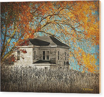 Beauty Surrounds Deserted Home Wood Print by Kathy M Krause