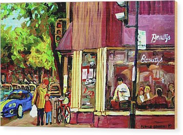 Beautys Luncheonette Montreal Diner Wood Print by Carole Spandau