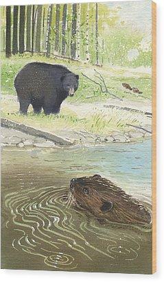 Beaver Wood Print by Denny Bond