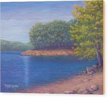 Beaver Lake Blue Wood Print by Tanja Ware