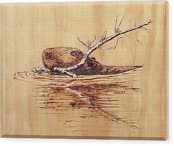 Wood Print featuring the pyrography Beaver by Ron Haist