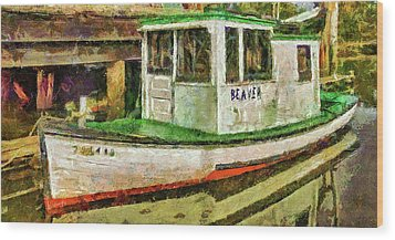 Wood Print featuring the photograph Beaver The Old Fishing Boat by Thom Zehrfeld
