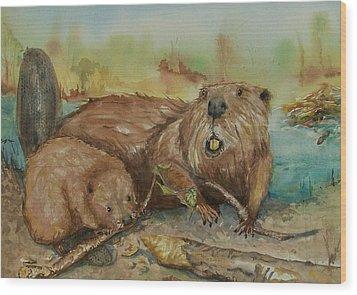 Beavers Wood Print by Barbara McGeachen