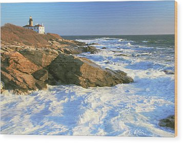 Beavertail Point And Lighthouse  Wood Print by Roupen  Baker