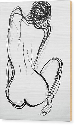 Wood Print featuring the drawing Because The Night by Jarko Aka Lui Grande