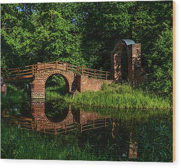 Beckerbruch Bridge Reflection Wood Print by Martina Thompson