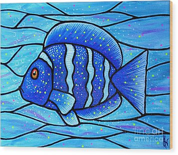 Wood Print featuring the painting Beckys Blue Tropical Fish by Jim Harris