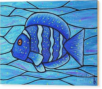 Beckys Blue Tropical Fish Wood Print by Jim Harris