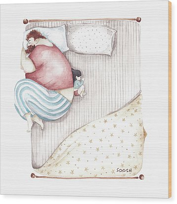 Bed. King Size. Wood Print by Soosh